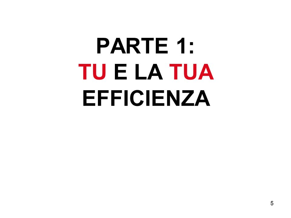 5 PARTE 1: TU E LA TUA EFFICIENZA
