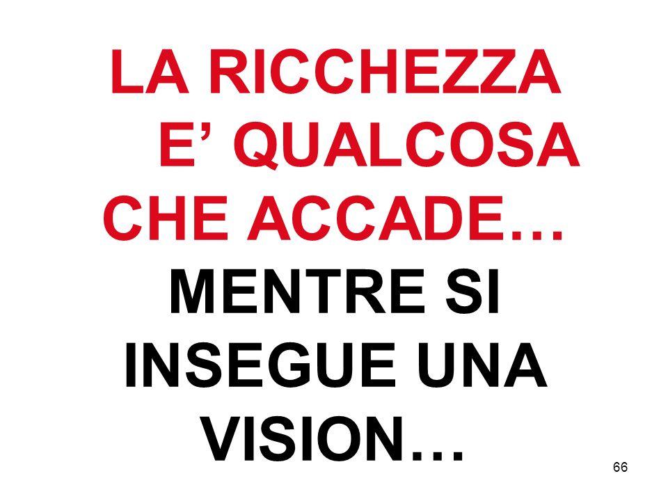 66 LA RICCHEZZA E QUALCOSA CHE ACCADE… MENTRE SI INSEGUE UNA VISION…