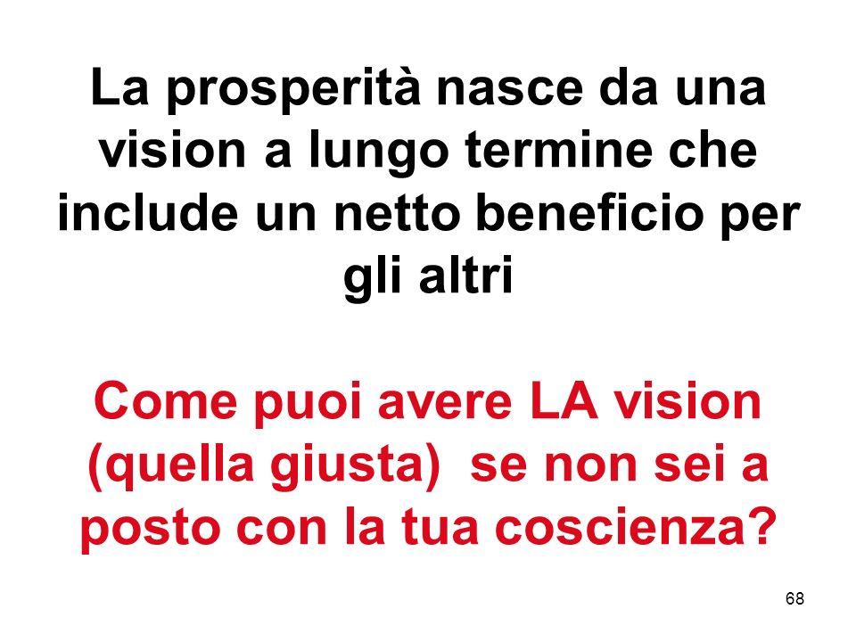 68 La prosperità nasce da una vision a lungo termine che include un netto beneficio per gli altri Come puoi avere LA vision (quella giusta) se non sei