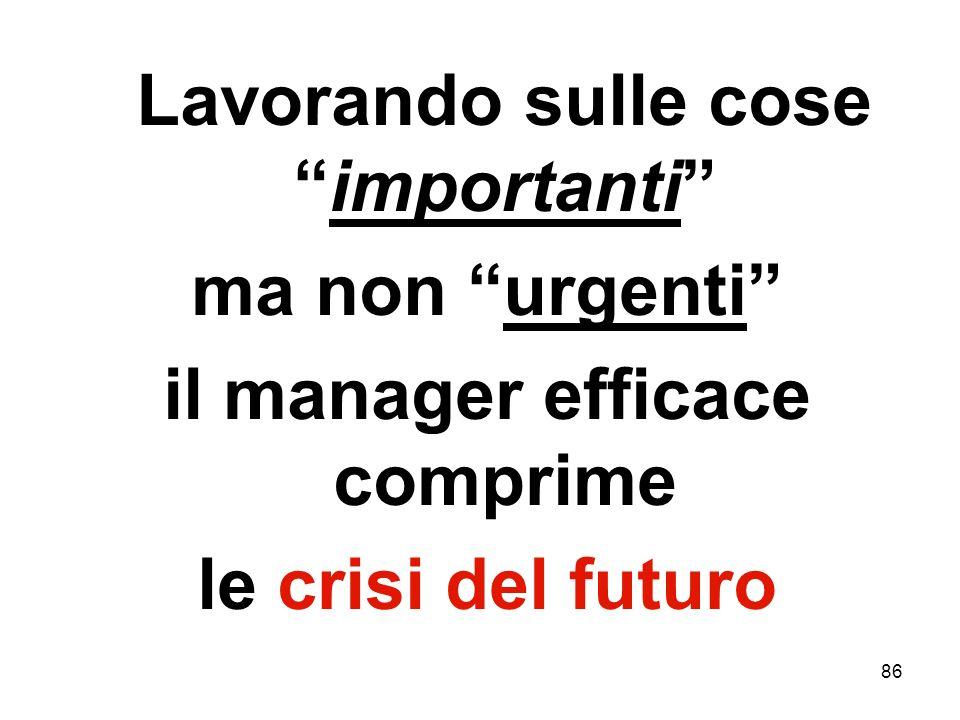 86 Lavorando sulle coseimportanti ma non urgenti il manager efficace comprime le crisi del futuro