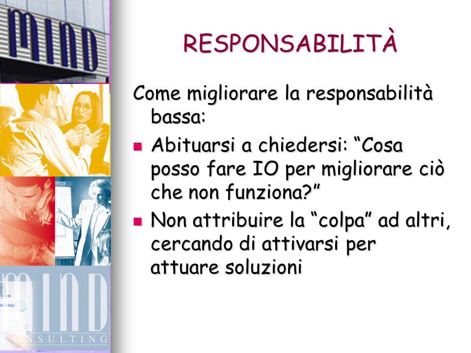 RESPONSABILITÀ Come migliorare la responsabilità bassa: Abituarsi a chiedersi: Cosa posso fare IO per migliorare ciò che non funziona.
