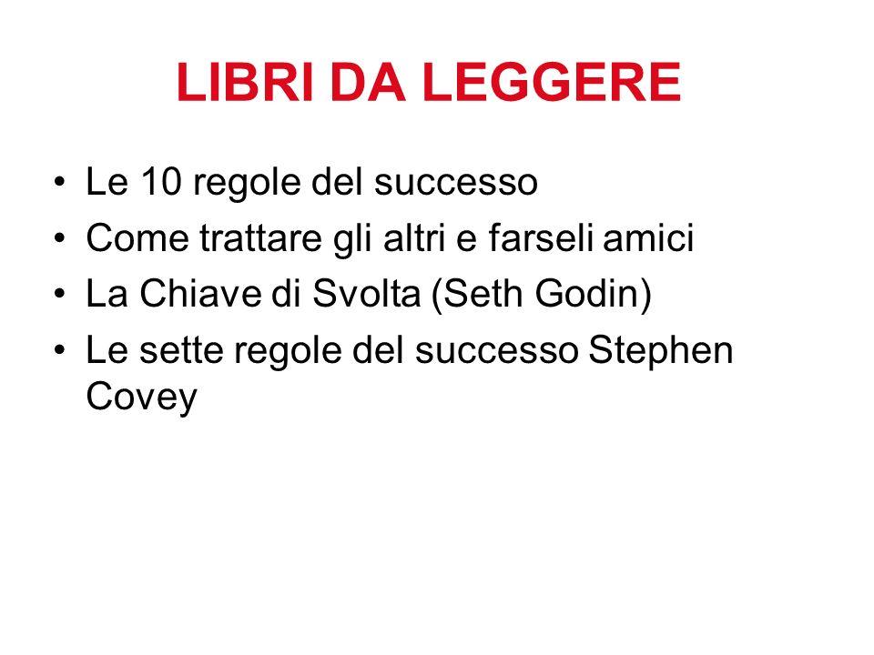 LIBRI DA LEGGERE Le 10 regole del successo Come trattare gli altri e farseli amici La Chiave di Svolta (Seth Godin) Le sette regole del successo Stephen Covey