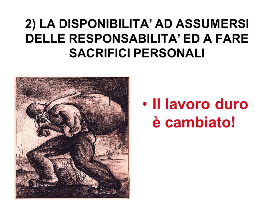 2) LA DISPONIBILITA AD ASSUMERSI DELLE RESPONSABILITA ED A FARE SACRIFICI PERSONALI Il lavoro duro è cambiato!