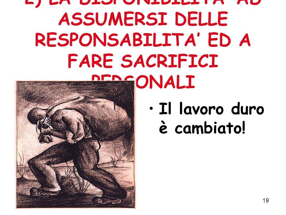 19 2) LA DISPONIBILITA AD ASSUMERSI DELLE RESPONSABILITA ED A FARE SACRIFICI PERSONALI Il lavoro duro è cambiato!