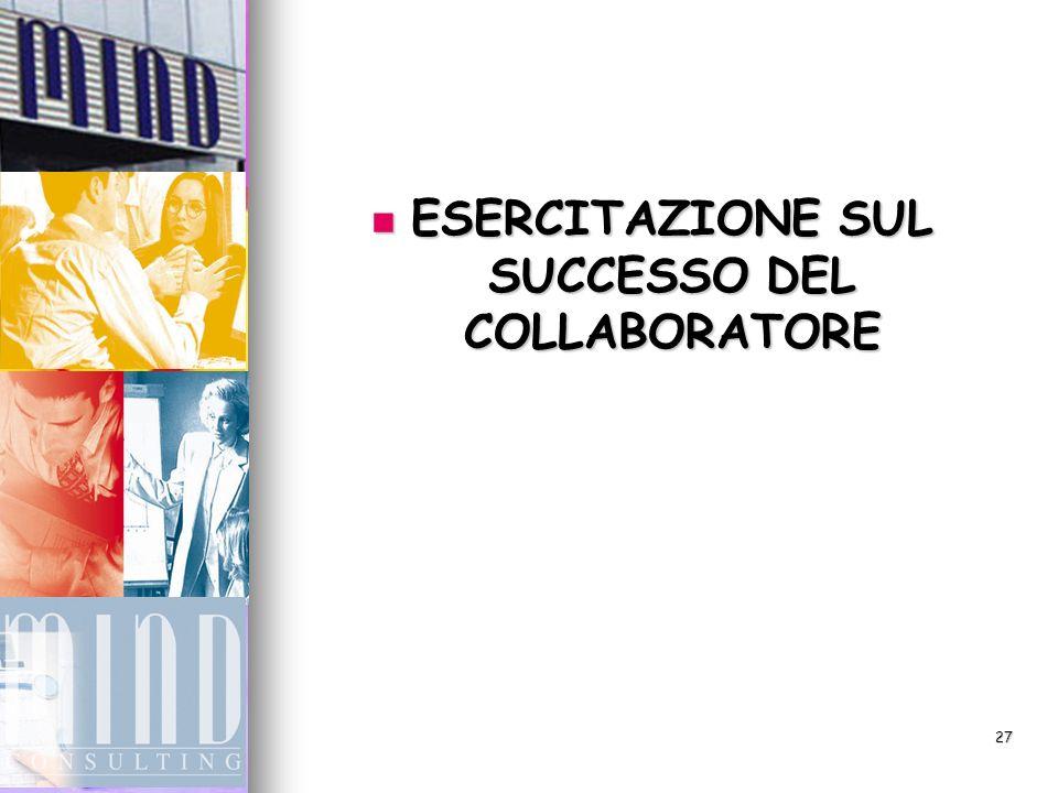 27 ESERCITAZIONE SUL SUCCESSO DEL COLLABORATORE ESERCITAZIONE SUL SUCCESSO DEL COLLABORATORE