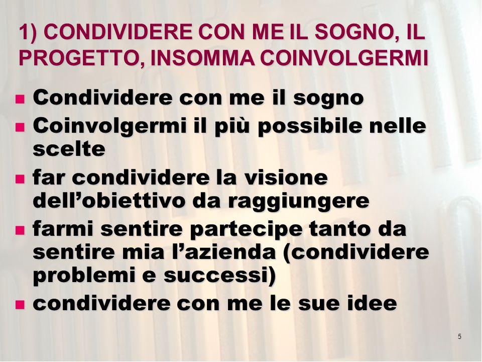 5 1) CONDIVIDERE CON ME IL SOGNO, IL PROGETTO, INSOMMA COINVOLGERMI Condividere con me il sogno Condividere con me il sogno Coinvolgermi il più possibile nelle scelte Coinvolgermi il più possibile nelle scelte far condividere la visione dellobiettivo da raggiungere far condividere la visione dellobiettivo da raggiungere farmi sentire partecipe tanto da sentire mia lazienda (condividere problemi e successi) farmi sentire partecipe tanto da sentire mia lazienda (condividere problemi e successi) condividere con me le sue idee condividere con me le sue idee