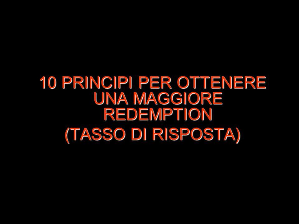 10 PRINCIPI PER OTTENERE UNA MAGGIORE REDEMPTION (TASSO DI RISPOSTA)