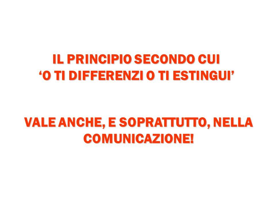 IL PRINCIPIO SECONDO CUI O TI DIFFERENZI O TI ESTINGUI VALE ANCHE, E SOPRATTUTTO, NELLA COMUNICAZIONE!