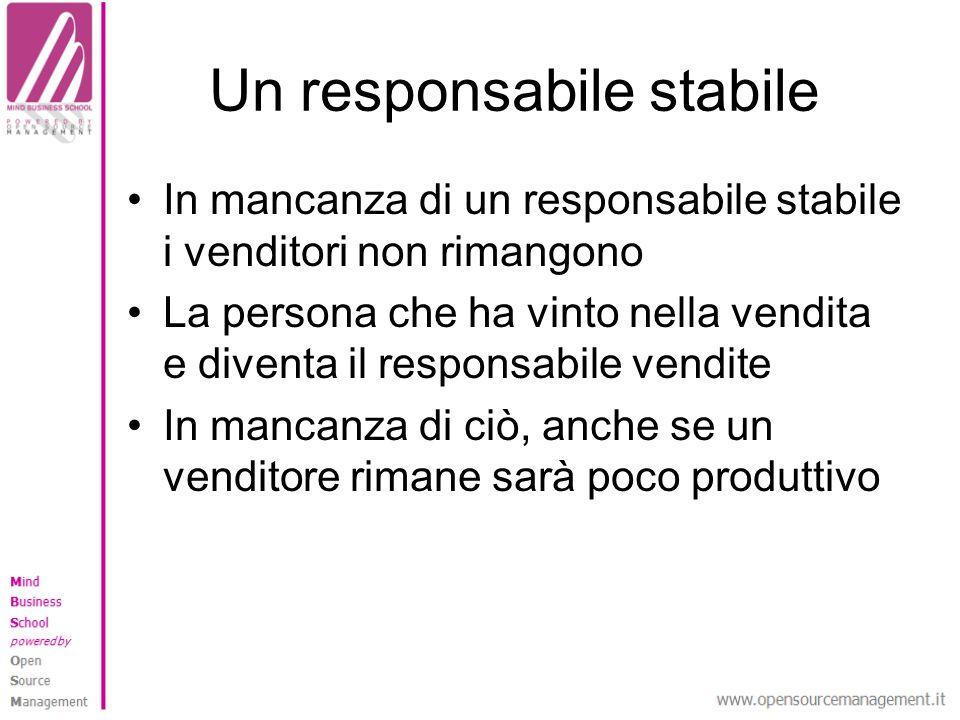 Un responsabile stabile In mancanza di un responsabile stabile i venditori non rimangono La persona che ha vinto nella vendita e diventa il responsabile vendite In mancanza di ciò, anche se un venditore rimane sarà poco produttivo