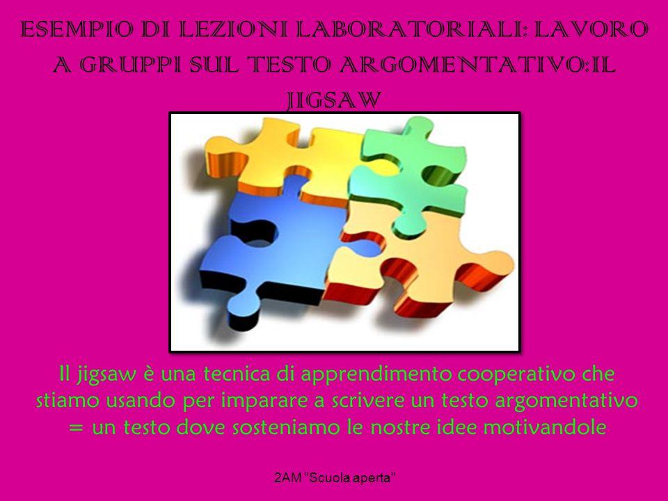 ESEMPIO DI LEZIONI LABORATORIALI: LAVORO A GRUPPI SUL TESTO ARGOMENTATIVO:IL JIGSAW Il jigsaw è una tecnica di apprendimento cooperativo che stiamo us