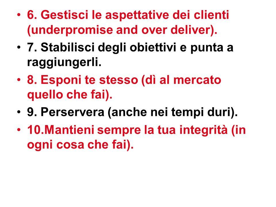 6.Gestisci le aspettative dei clienti (underpromise and over deliver).