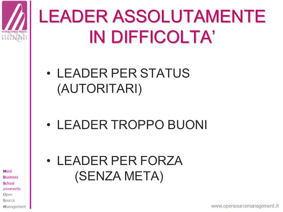 LEADER ASSOLUTAMENTE IN DIFFICOLTA LEADER PER STATUS (AUTORITARI) LEADER TROPPO BUONI LEADER PER FORZA (SENZA META)