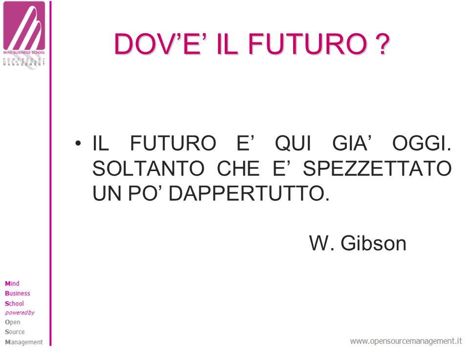 DOVE IL FUTURO ? IL FUTURO E QUI GIA OGGI. SOLTANTO CHE E SPEZZETTATO UN PO DAPPERTUTTO. W. Gibson