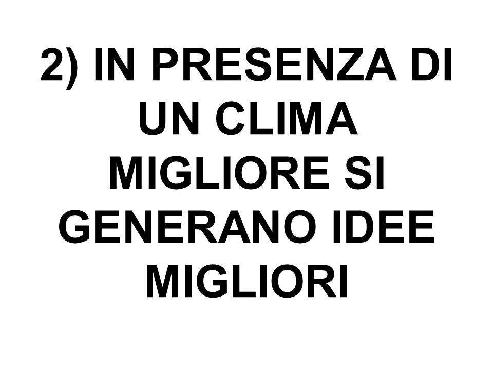 2) IN PRESENZA DI UN CLIMA MIGLIORE SI GENERANO IDEE MIGLIORI