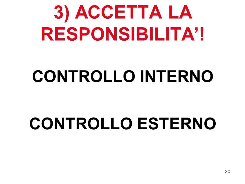 20 3) ACCETTA LA RESPONSIBILITA! CONTROLLO INTERNO CONTROLLO ESTERNO