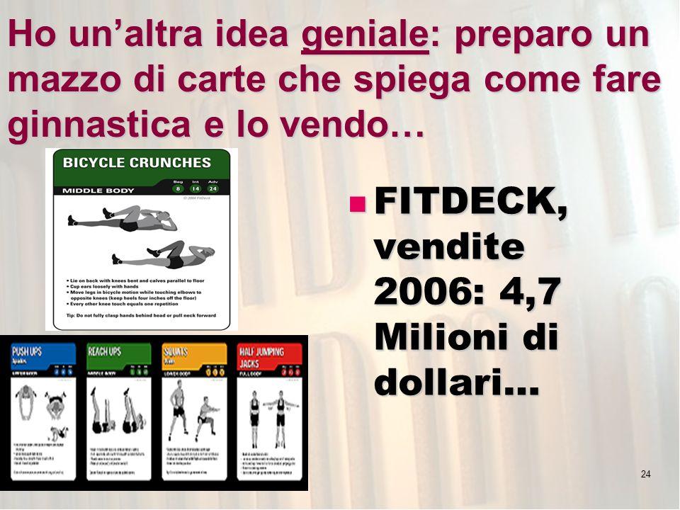 24 Ho unaltra idea geniale: preparo un mazzo di carte che spiega come fare ginnastica e lo vendo… FITDECK, vendite 2006: 4,7 Milioni di dollari… FITDECK, vendite 2006: 4,7 Milioni di dollari…