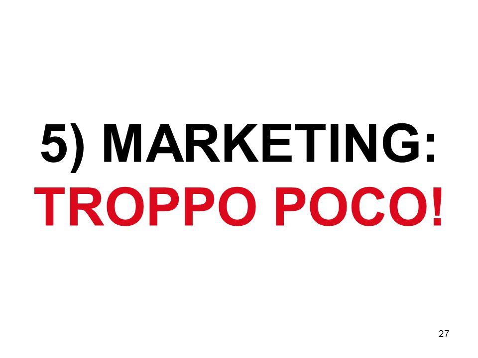 27 5) MARKETING: TROPPO POCO!