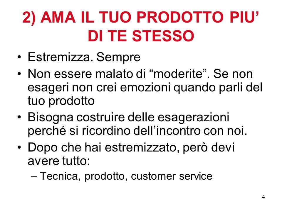 4 2) AMA IL TUO PRODOTTO PIU DI TE STESSO Estremizza.