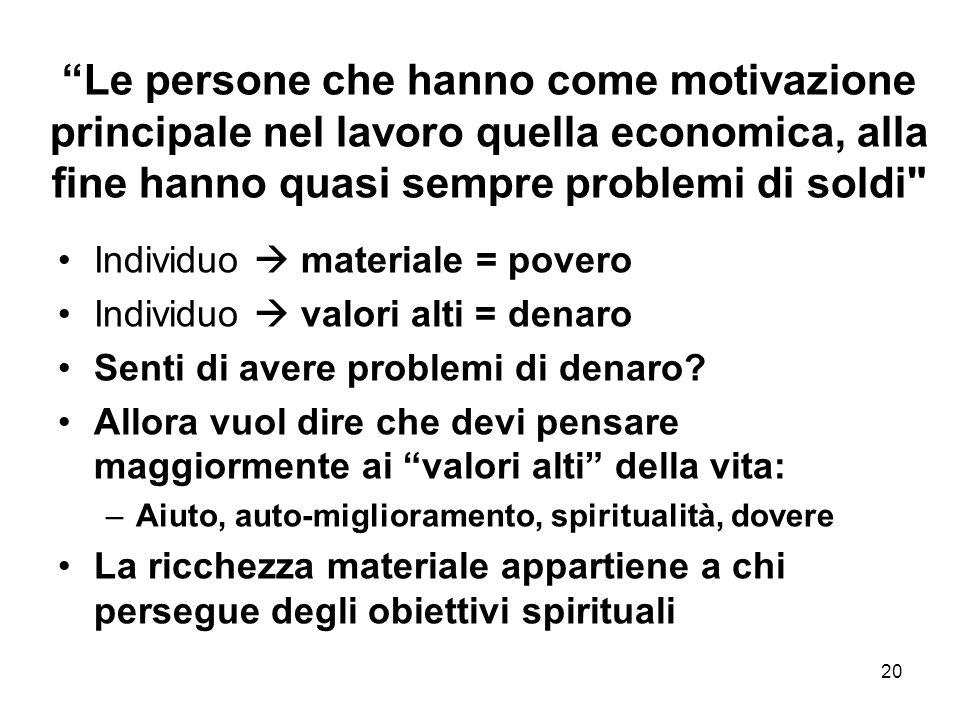 20 Le persone che hanno come motivazione principale nel lavoro quella economica, alla fine hanno quasi sempre problemi di soldi Individuo materiale = povero Individuo valori alti = denaro Senti di avere problemi di denaro.