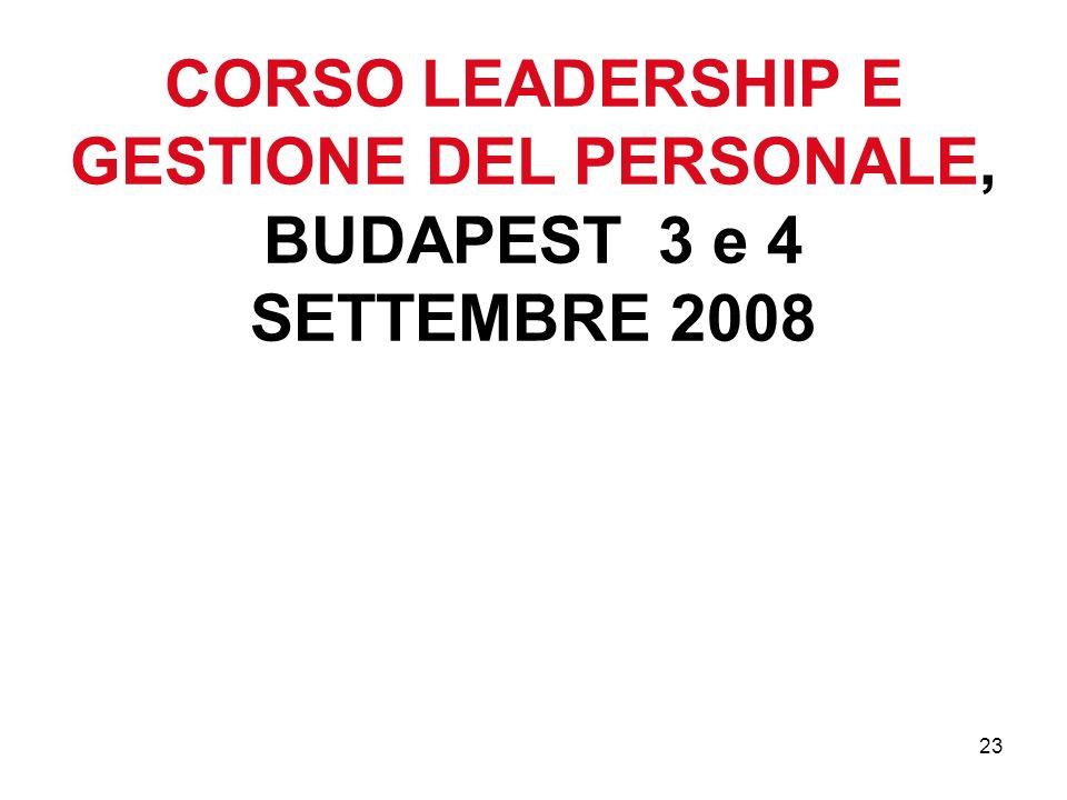 23 CORSO LEADERSHIP E GESTIONE DEL PERSONALE, BUDAPEST 3 e 4 SETTEMBRE 2008