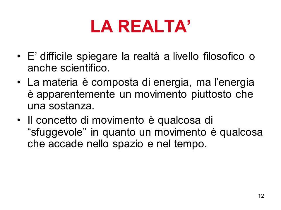 12 LA REALTA E difficile spiegare la realtà a livello filosofico o anche scientifico. La materia è composta di energia, ma lenergia è apparentemente u
