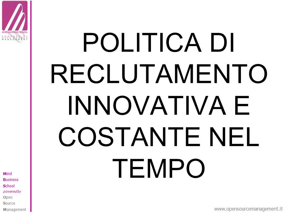 POLITICA DI RECLUTAMENTO INNOVATIVA E COSTANTE NEL TEMPO