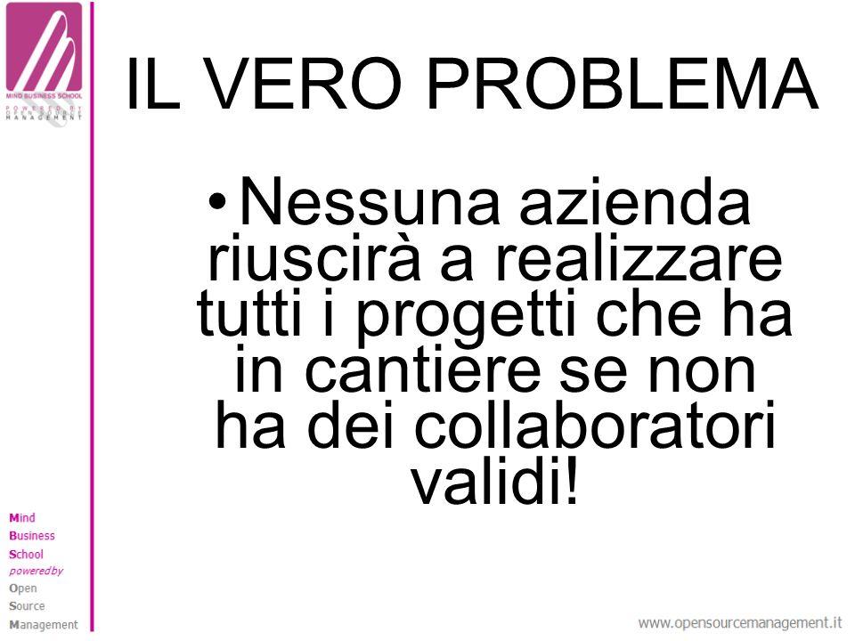 IL VERO PROBLEMA Nessuna azienda riuscirà a realizzare tutti i progetti che ha in cantiere se non ha dei collaboratori validi!
