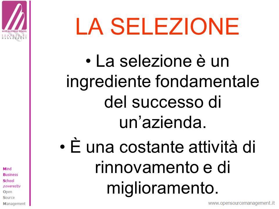LA SELEZIONE La selezione è un ingrediente fondamentale del successo di unazienda.