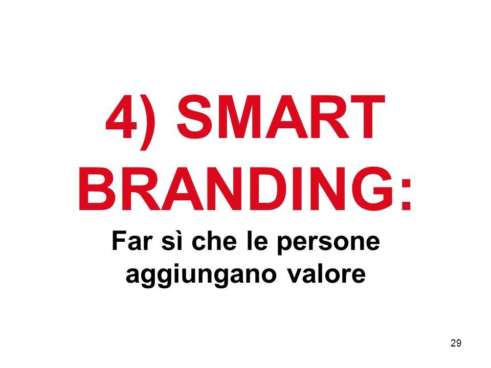 29 4) SMART BRANDING: Far sì che le persone aggiungano valore