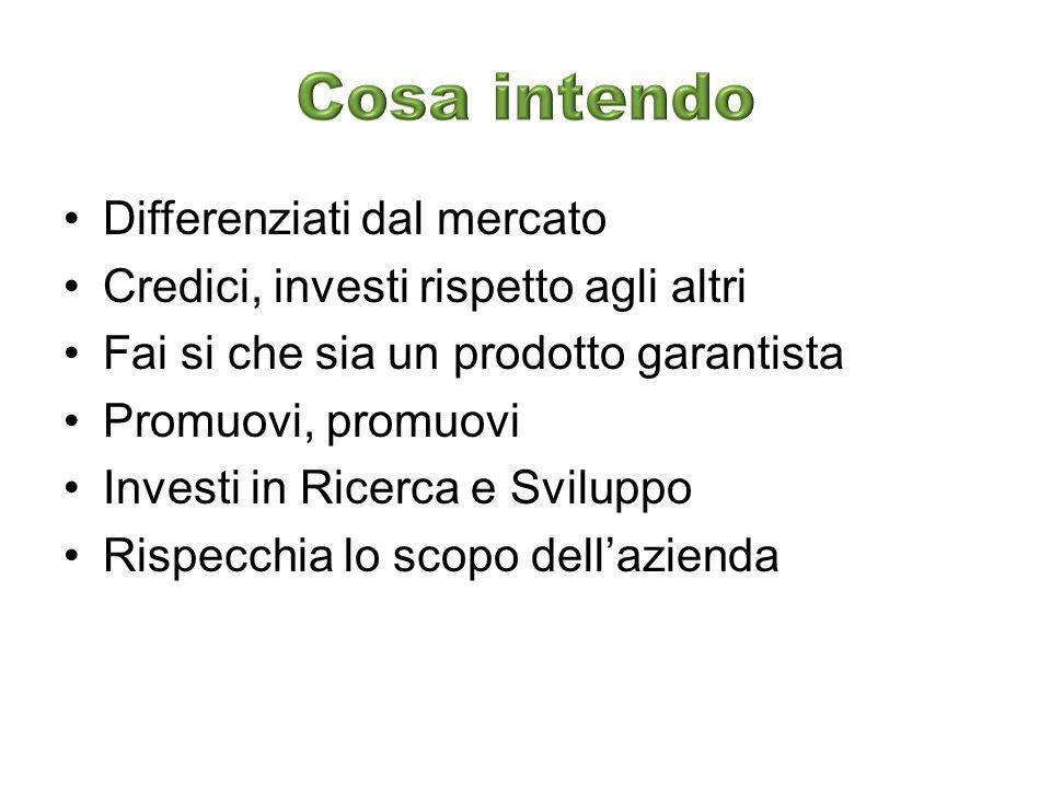 Differenziati dal mercato Credici, investi rispetto agli altri Fai si che sia un prodotto garantista Promuovi, promuovi Investi in Ricerca e Sviluppo Rispecchia lo scopo dellazienda