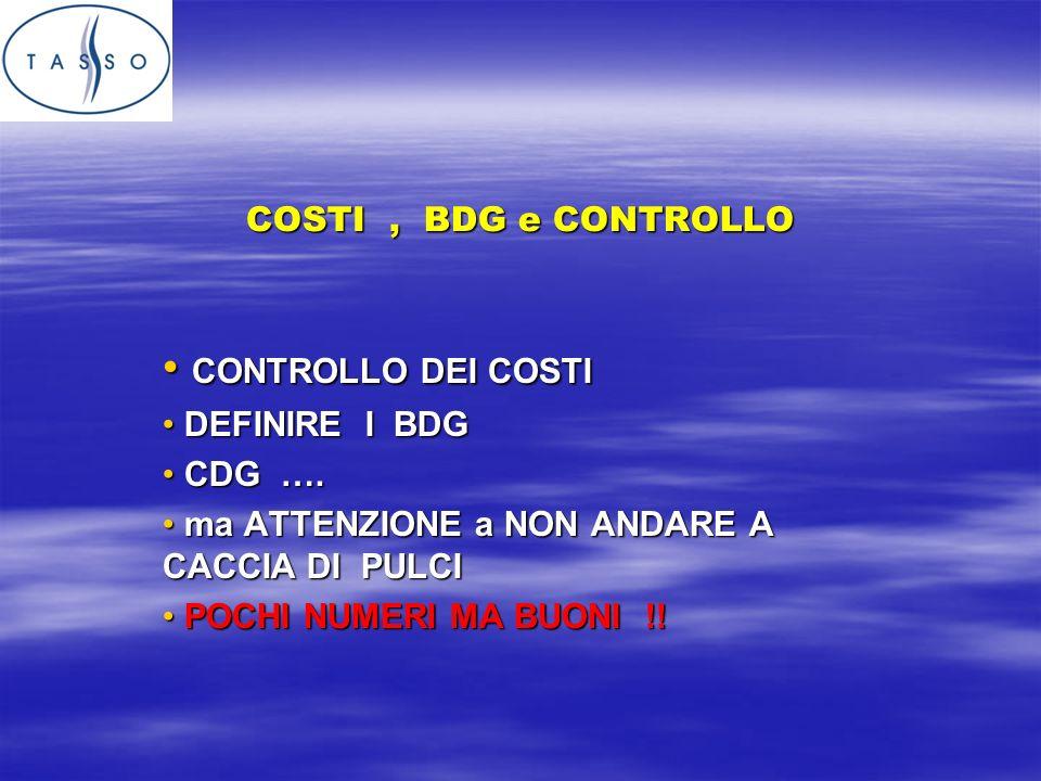 COSTI, BDG e CONTROLLO CONTROLLO DEI COSTI CONTROLLO DEI COSTI DEFINIRE I BDG DEFINIRE I BDG CDG ….