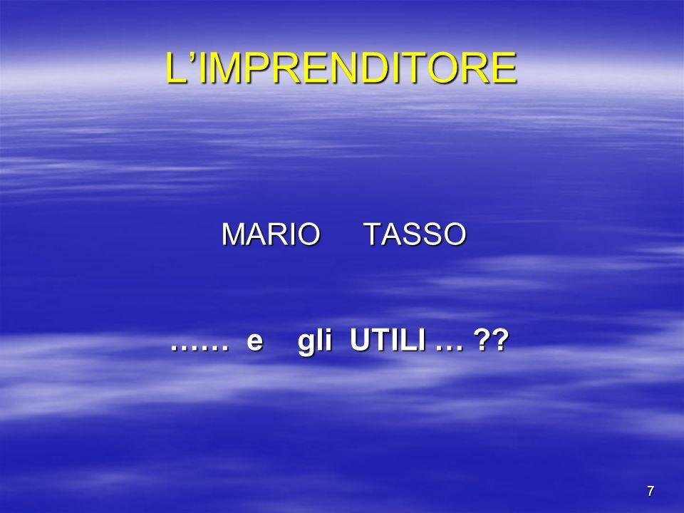 7 LIMPRENDITORE MARIO TASSO MARIO TASSO …… e gli UTILI … ??