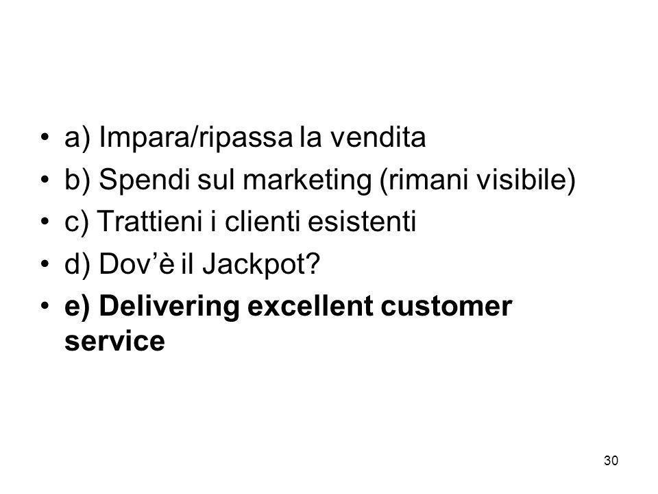 30 a) Impara/ripassa la vendita b) Spendi sul marketing (rimani visibile) c) Trattieni i clienti esistenti d) Dovè il Jackpot.