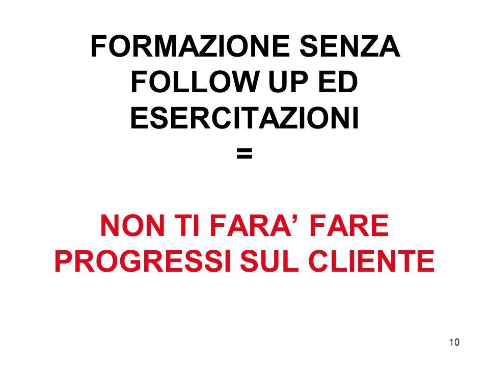10 FORMAZIONE SENZA FOLLOW UP ED ESERCITAZIONI = NON TI FARA FARE PROGRESSI SUL CLIENTE
