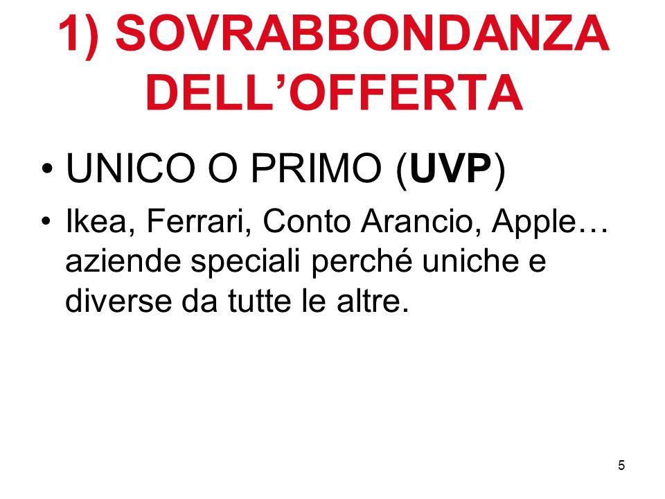 5 1) SOVRABBONDANZA DELLOFFERTA UNICO O PRIMO (UVP) Ikea, Ferrari, Conto Arancio, Apple… aziende speciali perché uniche e diverse da tutte le altre.