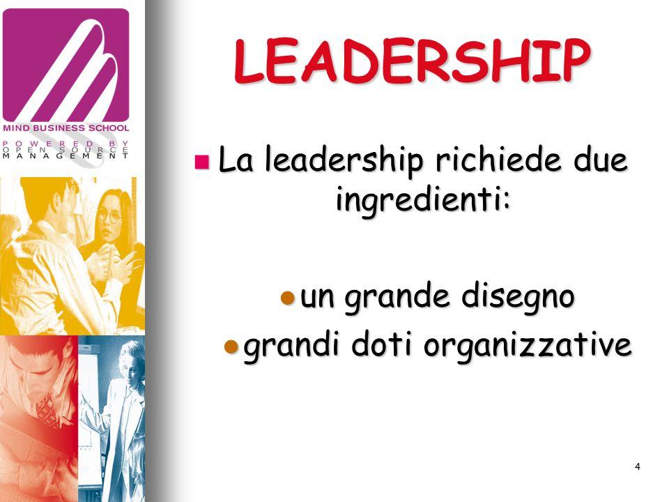 LEADERSHIP La leadership richiede due ingredienti: La leadership richiede due ingredienti: un grande disegno un grande disegno grandi doti organizzative grandi doti organizzative 4