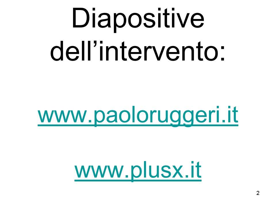22 Diapositive dellintervento: www.paoloruggeri.it www.plusx.it www.paoloruggeri.it www.plusx.it