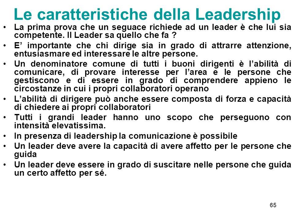 65 Le caratteristiche della Leadership La prima prova che un seguace richiede ad un leader è che lui sia competente. Il Leader sa quello che fa ? E im
