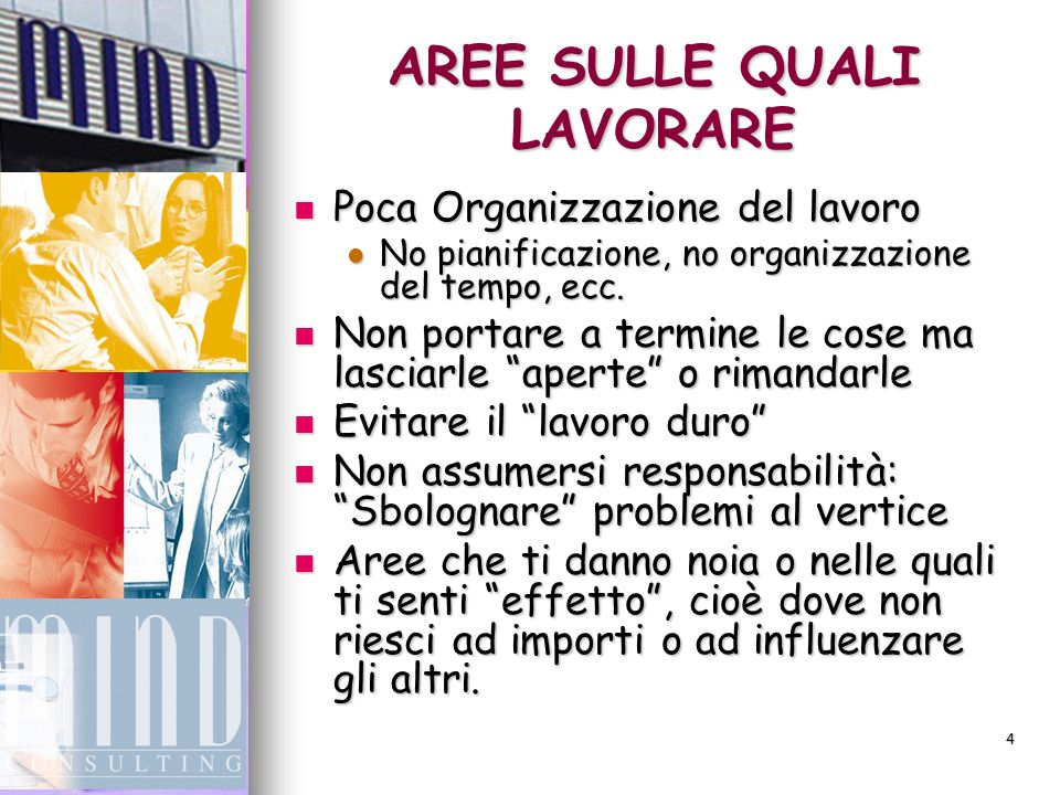 4 AREE SULLE QUALI LAVORARE Poca Organizzazione del lavoro Poca Organizzazione del lavoro No pianificazione, no organizzazione del tempo, ecc.