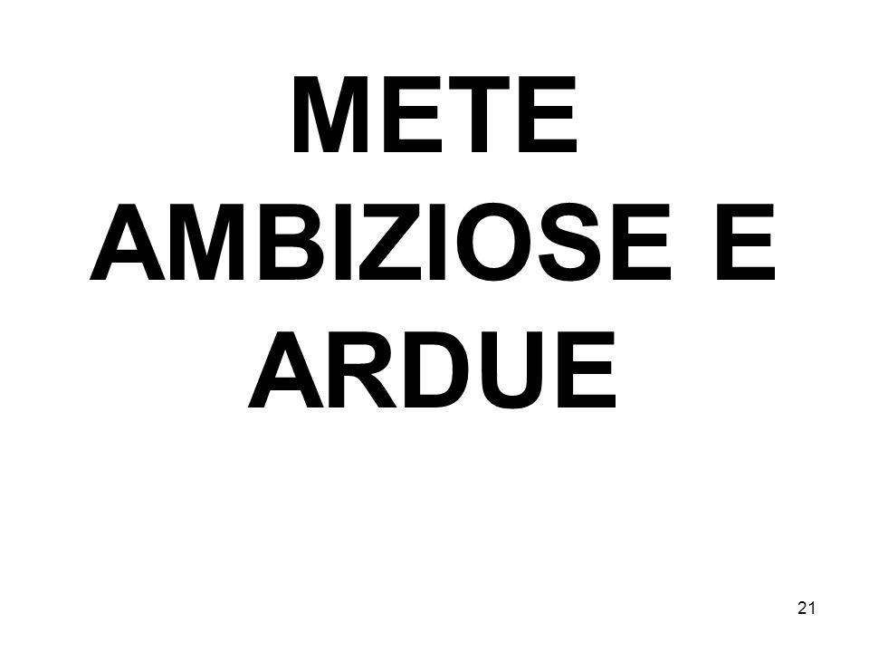 21 METE AMBIZIOSE E ARDUE