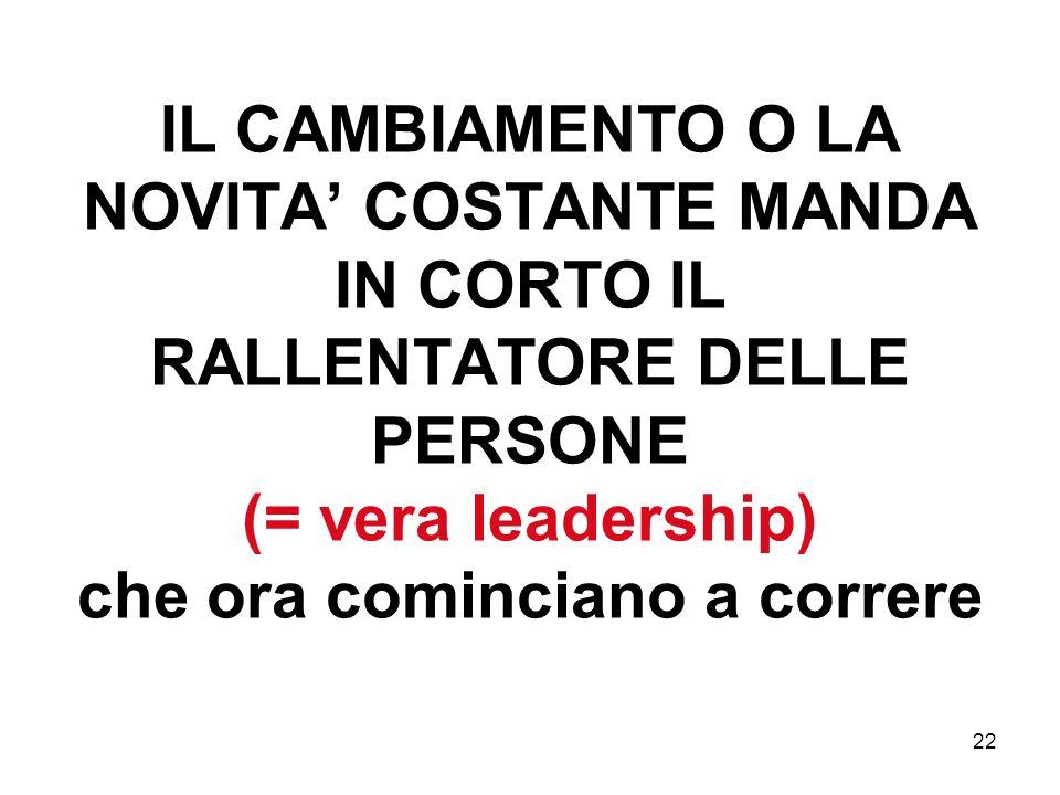 22 IL CAMBIAMENTO O LA NOVITA COSTANTE MANDA IN CORTO IL RALLENTATORE DELLE PERSONE (= vera leadership) che ora cominciano a correre