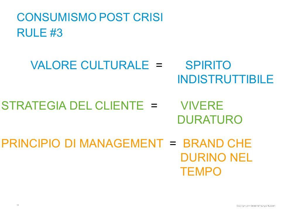 16 CONSUMISMO POST CRISI RULE #3 VALORE CULTURALE = SPIRITO INDISTRUTTIBILE STRATEGIA DEL CLIENTE = VIVERE DURATURO PRINCIPIO DI MANAGEMENT = BRAND CHE DURINO NEL TEMPO Copyright John Gerzema/Young & Rubicam