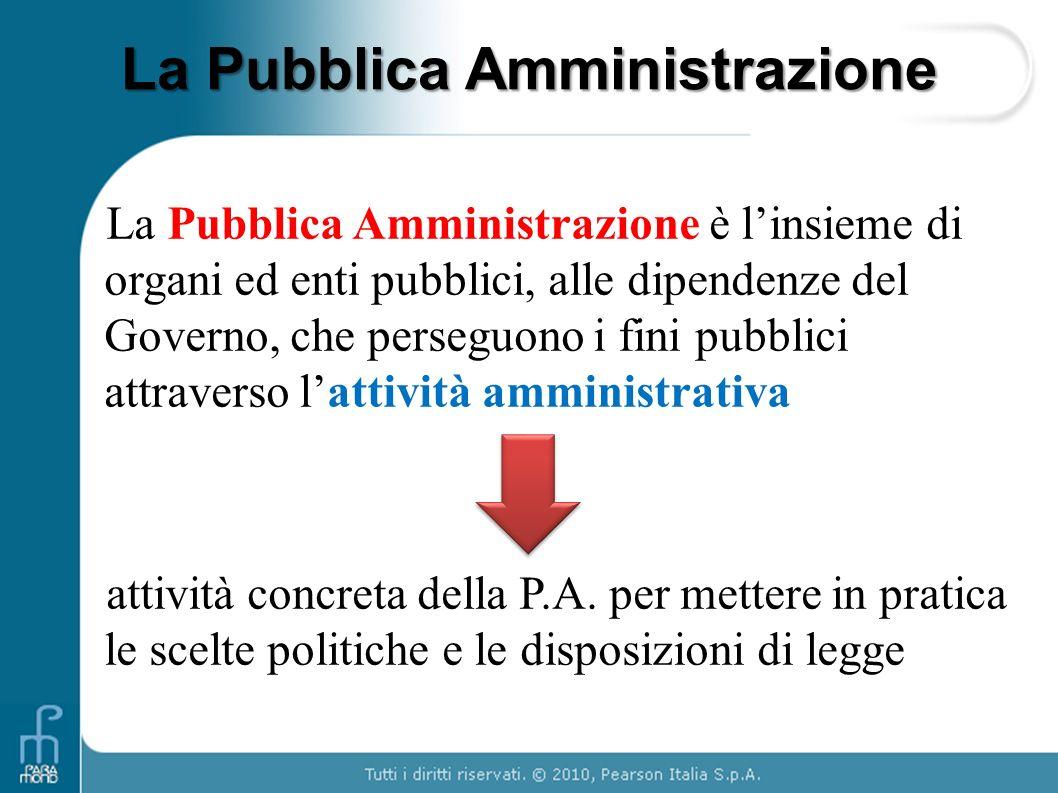 La Pubblica Amministrazione La Pubblica Amministrazione è linsieme di organi ed enti pubblici, alle dipendenze del Governo, che perseguono i fini pubb