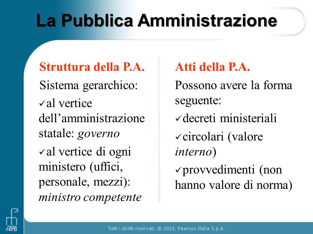 La Pubblica Amministrazione Struttura della P.A. Sistema gerarchico: al vertice dellamministrazione statale: governo al vertice di ogni ministero (uff