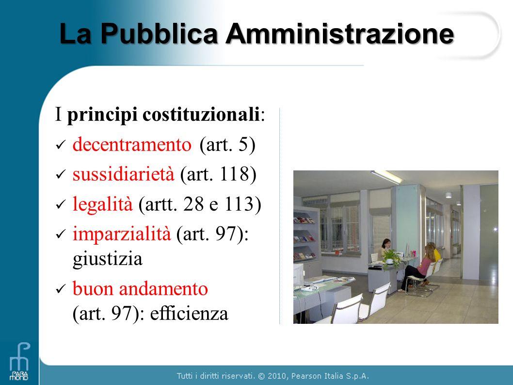 La Pubblica Amministrazione I principi costituzionali: decentramento (art. 5) sussidiarietà (art. 118) legalità (artt. 28 e 113) imparzialità (art. 97