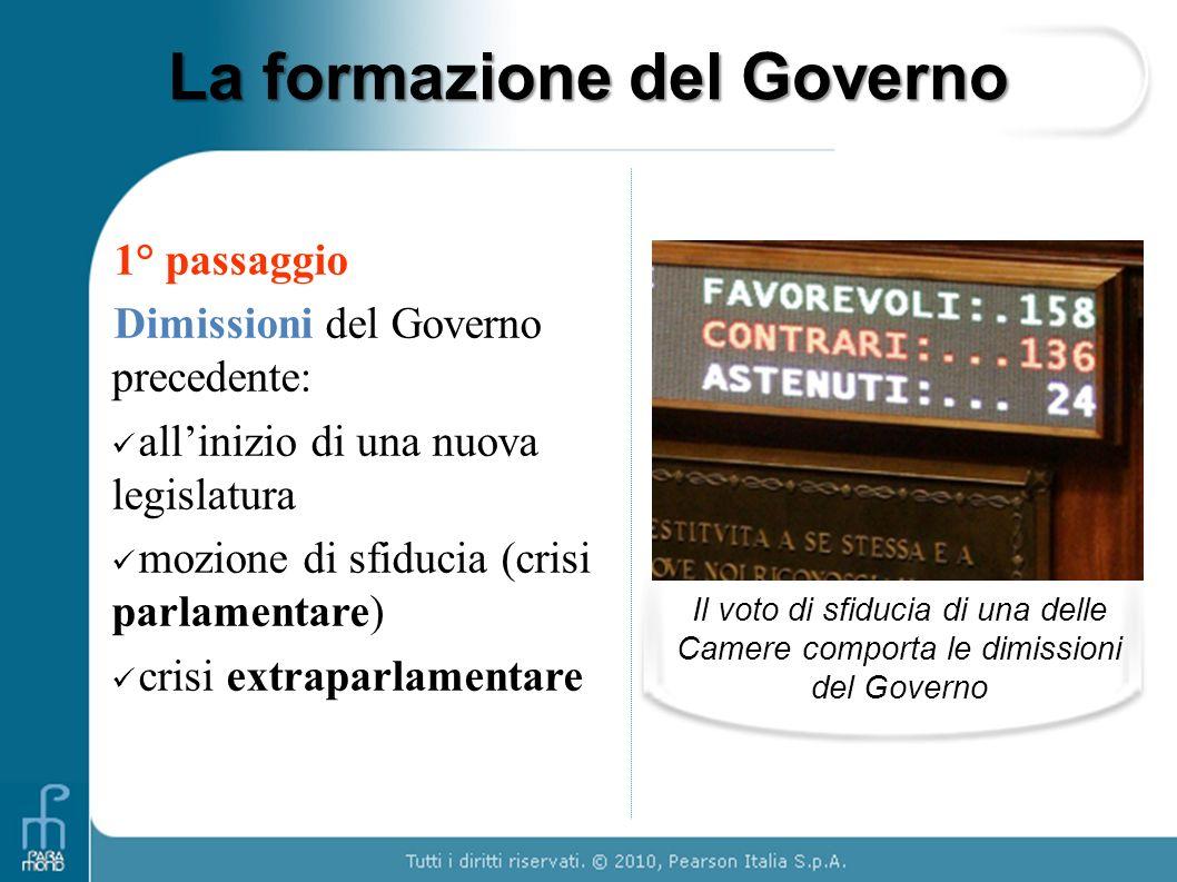 La formazione del Governo 1° passaggio Dimissioni del Governo precedente: allinizio di una nuova legislatura mozione di sfiducia (crisi parlamentare)