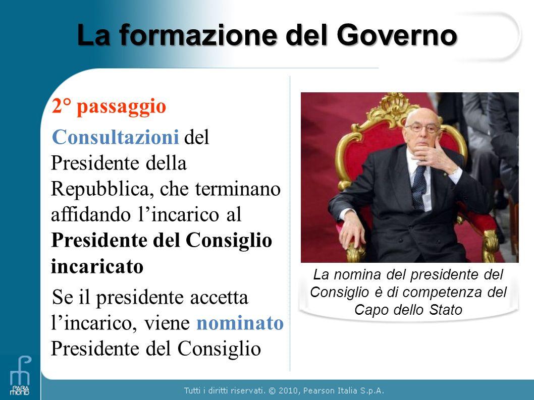 La formazione del Governo 2° passaggio Consultazioni del Presidente della Repubblica, che terminano affidando lincarico al Presidente del Consiglio in