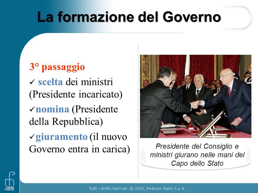 La formazione del Governo 3° passaggio scelta dei ministri (Presidente incaricato) nomina (Presidente della Repubblica) giuramento (il nuovo Governo e