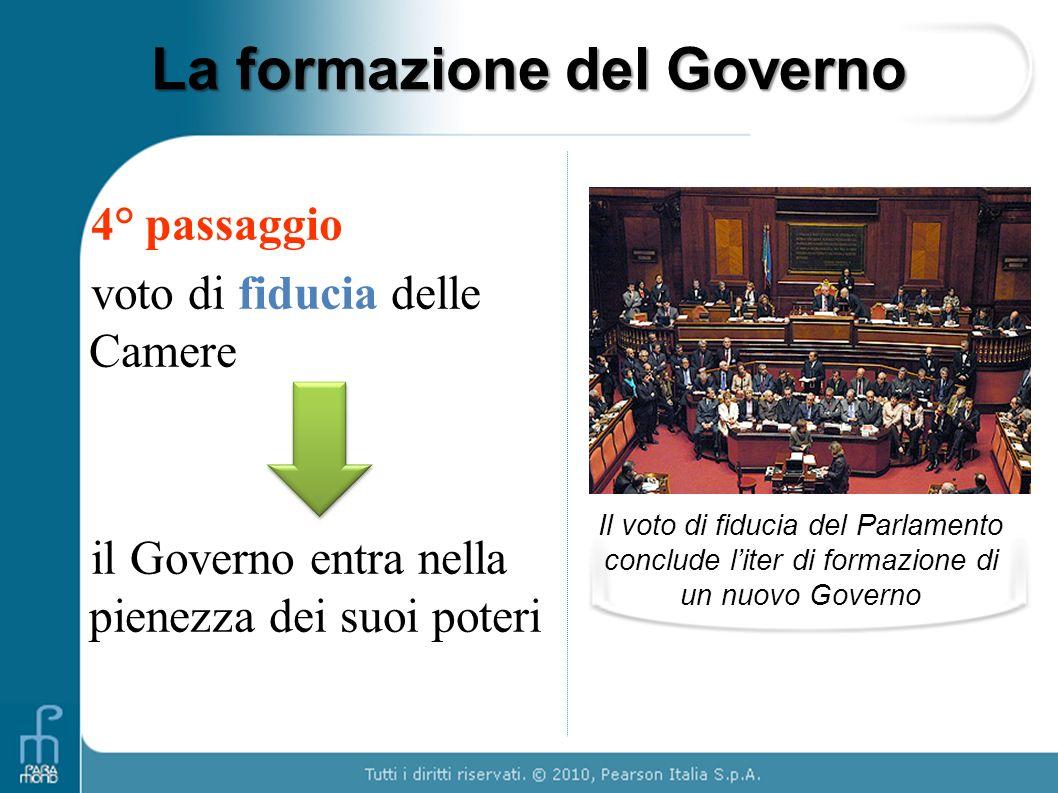 La formazione del Governo 4 ° passaggio voto di fiducia delle Camere il Governo entra nella pienezza dei suoi poteri Il voto di fiducia del Parlamento