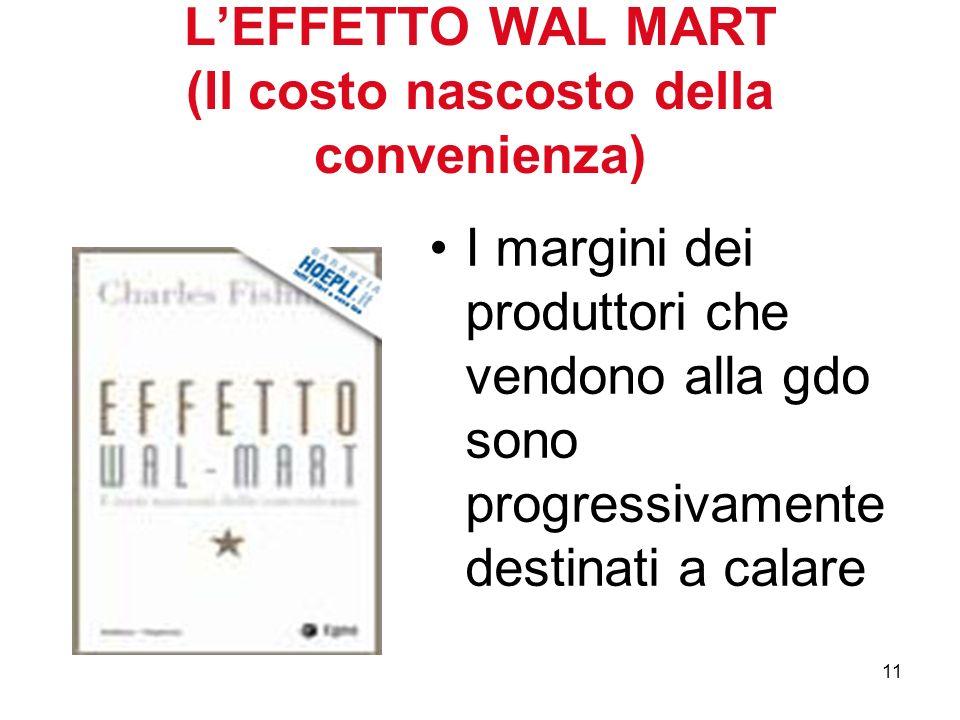 11 LEFFETTO WAL MART (Il costo nascosto della convenienza) I margini dei produttori che vendono alla gdo sono progressivamente destinati a calare